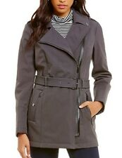 Michael Kors Asymetrical Soft Shell Belted Trench Coat Large Gray