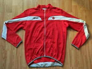 Castelli Fleece Thermal Cycling Jacket red/white Size: 3XL