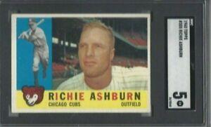1960 Topps baseball card #305 Richie Ashburn, Chicago Cubs graded SGC 5