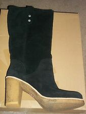 UGG Australia Cuff JOSIE Tall Black Suede High Heel Boots 9.5 New