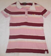 WMNS Hollister Pink/Maroon/White Striped S/S Polo Shirt Sz S M#4422