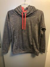 John Deere Women's Hoodie Gray W/Pink Trim Front Pockets Size Large~Free Ship!