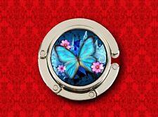 BUTTERFLY INSECT FLOWER BUG WING ART BLUE HANDBAG POCKETBOOK HANGER PURSE HOOK