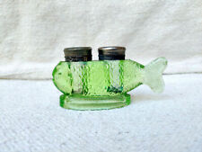 Antique Rare 2 Compartments Green Fish Shape Glass Inkwell Ink Pot Collectable