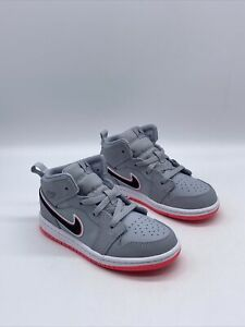 "Air Jordan 1 Mid (TD) ""Wolf Grey Pink"" Child Size 10c  644507 060"