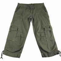 PRANA Breathe Organic Cargo Capri Pants Green Womens Size 6