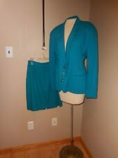 Vintage Georgiou for Naturelle Skirt Suit Teal Aqua Blue SIlk Lined size Medium