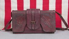 Vintage Antique Hand Tooled Brown Shoulder Bag Satchel Purse Incredible Detail