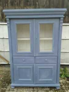 Vintage French Painted Pine Pantry Linen Cupboard Armoire with Chicken Wire