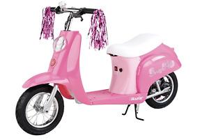 Razor Pocket Mod Miniature Euro 24V Electric Kids Ride On Retro Scooter, Pink