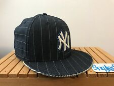 2007 Vintage New Era New York Yankees Denim Blue Striped 59Fifty Fitted 7 5/8