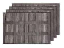 4er Set Platz-Matten TS-73 grau Tisch-Sets Platzset Tischmatten Platzdeckchen