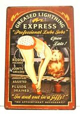 New Lube Job Pinup Girl Garage Tin Poster Sign Vintage Style Speed Shop Man Cave