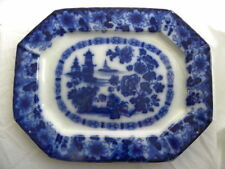 """Large Antique """"Rock"""" or """"Kirkee"""" Flow Blue Platter made by Wood, Meir Challinor?"""
