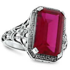 9 CARAT LAB RUBY ANTIQUE STYLE 925 STERLING SILVER FILIGREE RING SIZE 6, #90