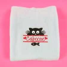 Personalised Embroidered Cat Blanket Soft Fleece Kitten Fish Design Blue Cat Bed
