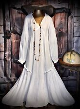 Vintage 100% Cotton Prairie Maxi Folk Gown Belle Boho Semi Sheer Puff Dress S