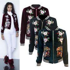 Womens Lady Velvet Baseball Coat Embroidered Tiger Bomber Jacket Sport Outwear