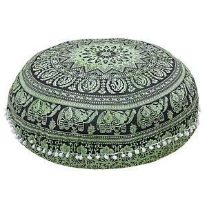 "32"" Green Large Mandala Elephant Floor Pillow Bohemian Meditation Cushion Cover"
