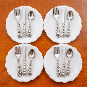 1/12 Miniatur 4 Stück Teller und 12 Stück Besteck Puppenhaus Küche Zubehör