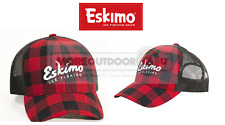 Eskimo Fishing Ice Trucker Buffalo Red Black Plaid Hat Ball Cap OSFM