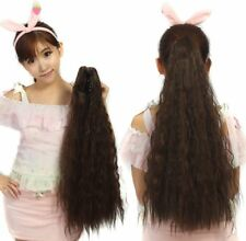 Long Straight Fluffy Yaki curly Ponytail clip Wrap On Hair Extensions Woman D6