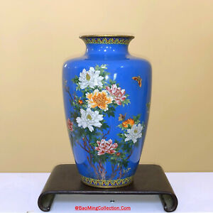Japanese Ando Inaba Silver Wired Cloisonne Vase of Peony & Butterfly X Christies