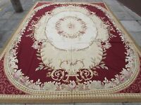 Old Hand Made French Design Wool 12x9 Red Original Aubusson 373X270cm