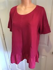 NWT, LOFT, Size Medium, Lightweight, Short Sleeve, Cotton Knit Top w/Poly Ruffle