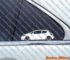 2x Lowered car outline stickers - for Peugeot 208, 3-door hatchback