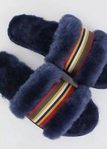 EMU Australia Wrenlette Womens Slippers US 6 Blue Stripe Fur Lined Slides 2306
