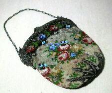 Antique Micro Beaded Floral Purse with Art Deco Sterling Frame for Parts/Repair