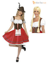 Ladies Oktoberfest Costume German Bavarian Octoberfest Beer Fancy Dress + Wig