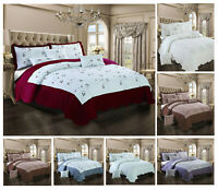 3 Pcs Embroidered Bedspread Quilted Comforter Soft Bedding Set With Pillow Shams