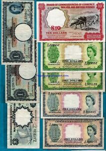 Malaya and British Borneo Board of Commissioners of Currency $1 - $10 RARE