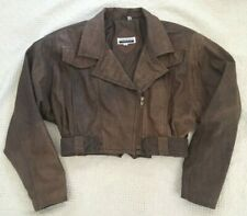 Vintage 80's Crop Brown Leather Jacket Size S / M Contempo Casuals Distressed