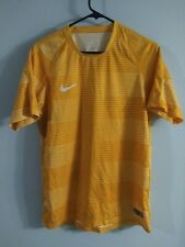 Nike Flash Graphic Soccer Printed Top Size L Dri-Fit Mesh Yellow Striped