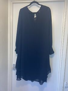 Women's Black Dress Size 18 James Lakeland Ruffle Hem Sheer Sleeve Long Occasion