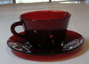 Vintage Ruby Red Depression Glass Cranberry coffee tea cup & saucer set 1 set~