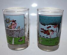 2 Arby's Gary Patterson Glasses Cups Tennis Golf 1982 Sports Funny Advertise Vtg