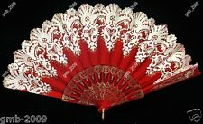 Spanish Style Red Wedding Party Lace Brocade Folding Hand Held Fan Flower Myster