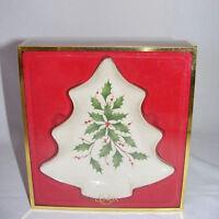 """Lenox Holiday China 7"""" Tree Candy Dish Tray New in Box"""