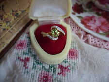 VINTAGE 9CT GOLD RING SIZE 7  or O  with PERIDOT and DIAMOND STONES 9 ct Gold