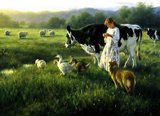 Wonderful Oil painting young shepherdess girl with sheep ducks cow dog canvas