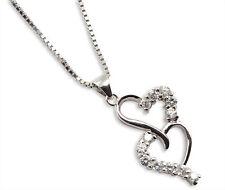 Collana cuori argento 925 pendente collana maglia cubica catenina diamanti sint.