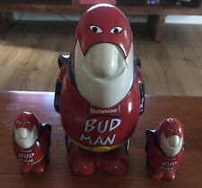 Vintage Genuine Budweiser Bud Man stein and salt And Pepper shakers