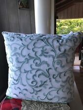 Sferra Terina Aqua Decorative Pillow  Beaded Embroidery 100%  Linen Square 24""