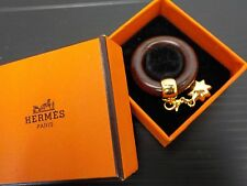 Auth HERMES Scarf Ring Brown Wood Gold tone star motif Vintage 6F290410N