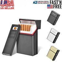 20-Cigarette Case Dispenser Tobacco Storage Box Holder w USB Windproof Lighter