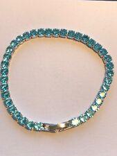 "10 Ct Diamond Tennis Bracelet 6.5"" 1 Aquamarine perfect 14K White Gold"